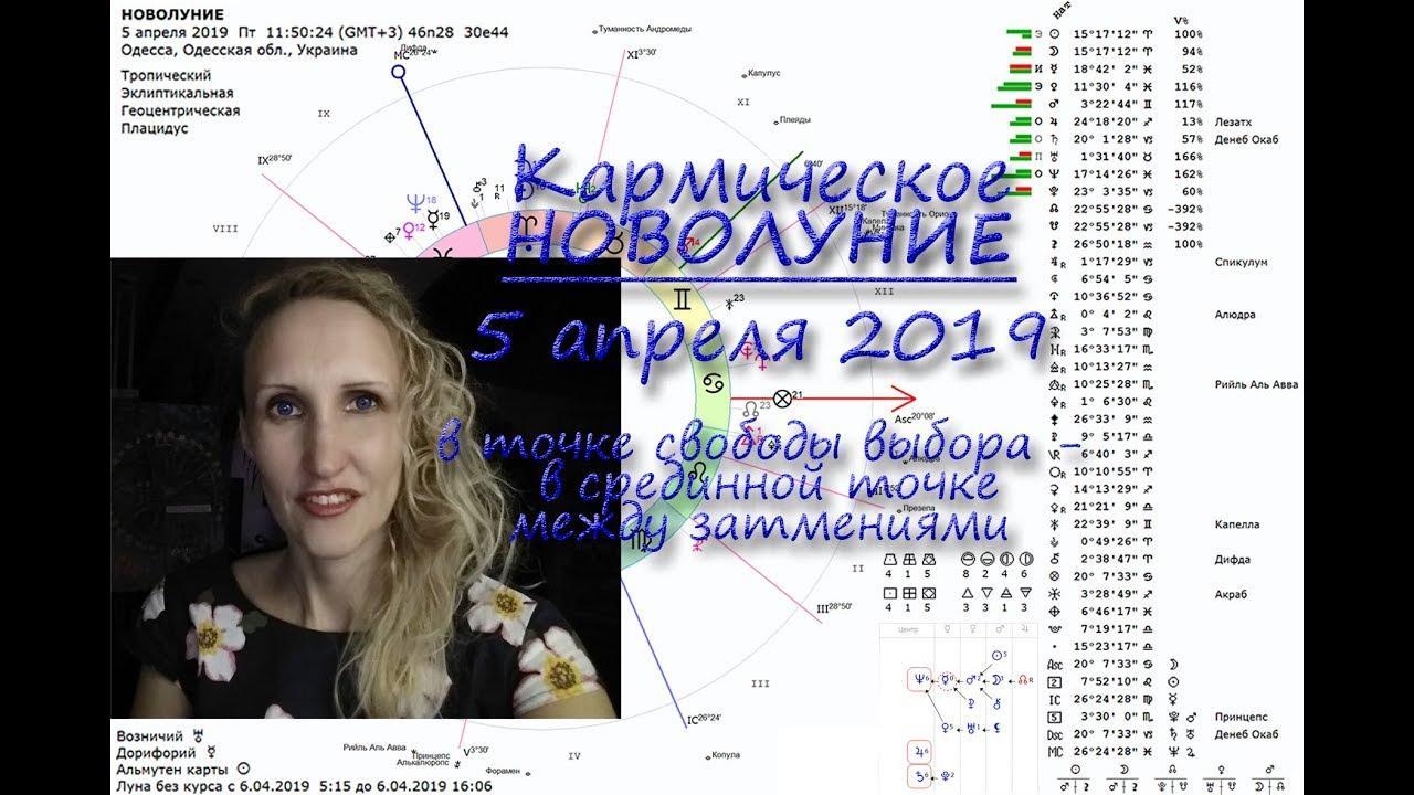 Кармическое Новолуние 5 апреля 2019 в срединной точке между затмениями. Анастасия Лаврентьева