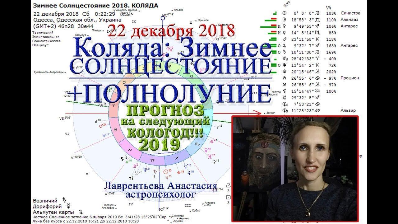 Коляда, зимнее солнцестояние, полнолуние 22 декабря 2018, прогноз на 2019 год. Анастасия Лаврентьева